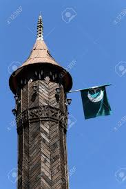 Muslim Flag Muslim Flag On The Minaret Of Mosque Montenegro Stock Photo