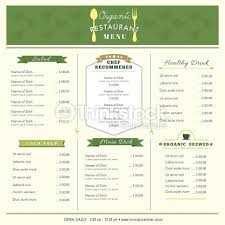 restaurant menu design template layout organic food vector art