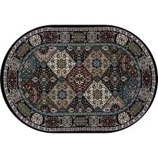 6 X 9 Oval Area Rugs Carpet Kensington Patchwork Black 6 Ft 7 In X 9 Ft 6 In