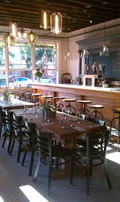 love rustic wood table subway and penny tiles industrial