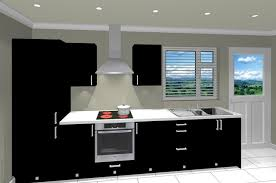 Black Galley Kitchen - cheap affordable kitchen package with black doors trade kitchens