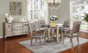 Coaster Dining Room Sets Bling Game 5 Piece Dining Set In Metallic Platinum Finish By