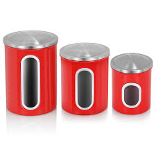 oggi kitchen canisters 3pcs airtight window kitchen canister stainless steel canisters