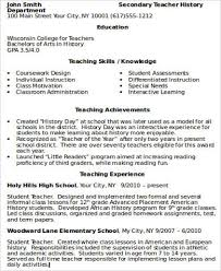 Teacher Skills Resume Examples Teacher Resume Examples 8 Samples In Word Pdf