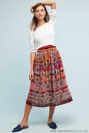 fashion as know as neutral motif ursa embroidered skirt for women