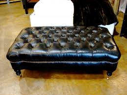 Ottoman Black Leather Black Leather Tufted Ottoman With Casters 22 Bond St Daily