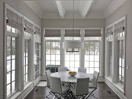 silver dining room silver roman shades in winnetka illinois contemporary dining