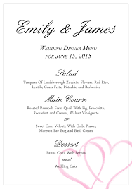 a free wedding menu template