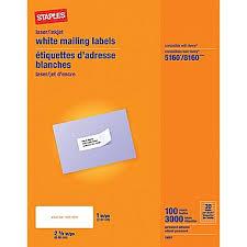 Address Labels 30 Per Sheet Template Staples White Inkjet Laser Address Labels 1 X 2 5 8 3 000 Box