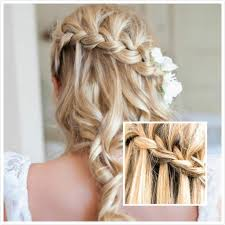 tag curly prom hairstyles for long hair to the side with braids