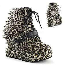 bravo spiked leopard print wedge ankle boots demonia gothic boots