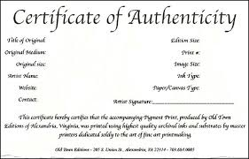 certificate of authenticity template art free choice image