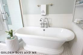 Sherwin Williams Sea Salt Bathroom Golden Boys And Me Master Bathroom Pedestal Tub White Subway