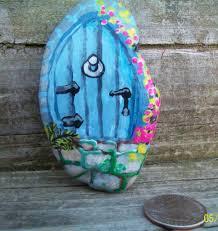 fairy house door hand painted garden rock gnome art collectible