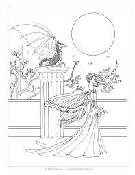 free fairy and dragon coloring page by molly harrison fantasy art