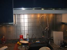 Stainless Steel Tiles For Kitchen Backsplash Archaic Silver Color Metal Tile Kitchen Backsplash Featuring Grid