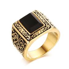 stainless steel rings for men domineering carving decorative pattern zircon wedding