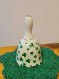 shamrock clover bell porcelain irish green and gold hand bell st