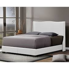 baxton studio duncombe white modern bed with upholstered headboard