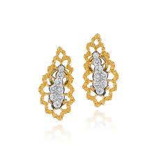 gold diamond earrings flont 18k two color gold diamond earrings by buccellati