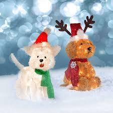 lighted tinsel dogs outdoor decorations improvements