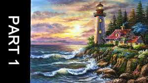 paint a lovely lighthouse in acrylic part 1
