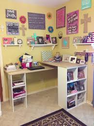 Diy Craft Desk With Storage Diy Craft Table With Storage And Corner Floating Wall Shelves With