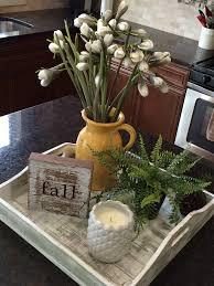kitchen island centerpiece love this decor idea for a kitchen island or peninsula tray makes
