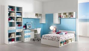 Minimalist Modern Design Blue And White Bedroom For Teenage Girlsteen With Minimalist
