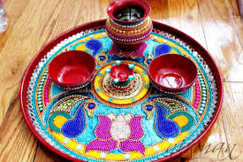 amazon com pooja thali decorative henna mehndi peacock design