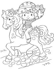 strawberry shortcake rides horse coloring free printable