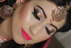 real engagement nikaah asian bridal makeup gold smokey