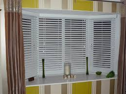 Bathroom Blinds Ideas White Venetian Blinds Covering Bay Windows Revealed Behind Brown