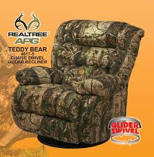 teddy bear apg green realtree camouflage chaise swivel glider