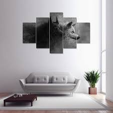 colormix 5 panel gray wolf canvas print painting home decoration