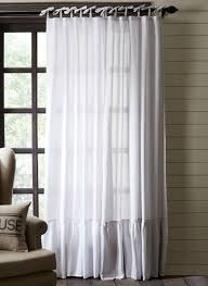 Tie Top Curtains Ash Grey Tie Top Ruffle Trim Panel Curtains Set Of 2 Antique