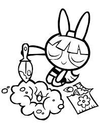 Powerpuff Girls Blossom Planting Flowers Coloring Page H M Power Puff Coloring Page