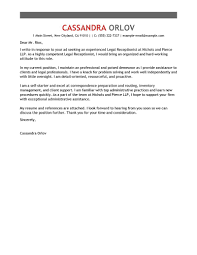 Sample Legal Cover Letters Cover Letter Template For Receptionist Template Legal Receptionist