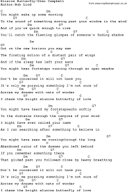 country elusive butterfly glen cbell lyrics and chords