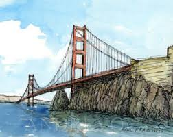 san francisco golden gate bridge california watercolor sketch