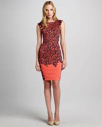 french connection fitted mixpattern dress in orange lyst