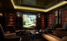 Interior Fantastic Home Theatre Designs With Cream Fabric Sofas Home Theatre Design
