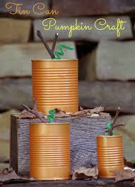 looking for an easy fall craft these tin can pumpkins will take