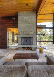 Contemporary Fireplace Doors by Contemporary Fireplace Modern Lakefront Cabin In Idaho Usa 1