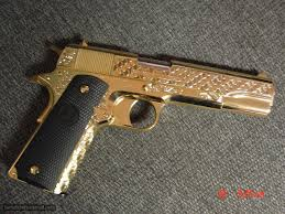 colt government 1911 45acp fully 24k gold plated master engraved