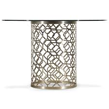 Round Glass Top Dining Room Table Round Glass Top Dining Table With Plated Metal Base By Hooker