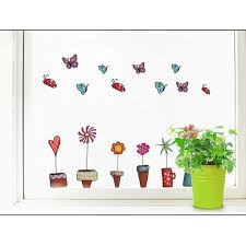 cartoon flower butterfly wall stickers diy decal window glass material pvc place origin china function decorative landscaping package opp features removable stickers life waterpoof