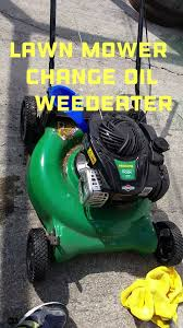 lawn mower change oil weedeater youtube