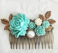 hair slide seafoam wedding hair accessories bridal comb flower