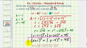 ex find standard equation of a circle given center and point on the circle you